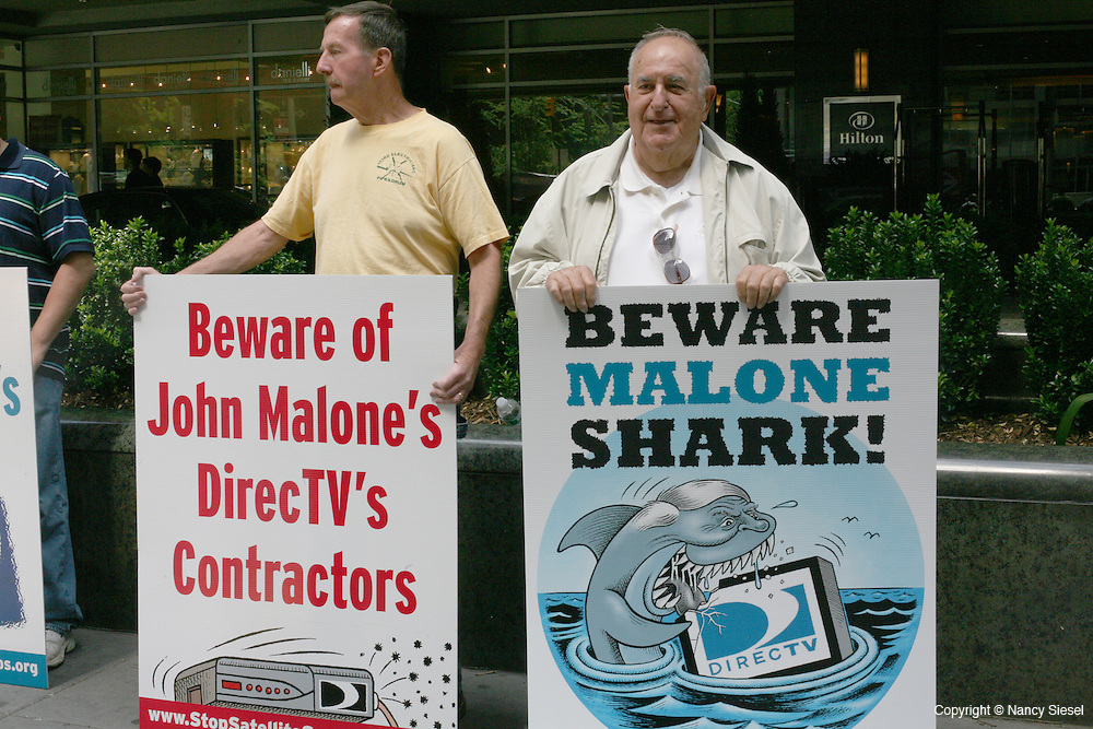 A protest was held on June 2 outside of the Hilton Hotel on 6thAve in Manhattan,by IBEW union members from Massachusetts, while the DirecTv annual meeting was being held in a conference room inside.