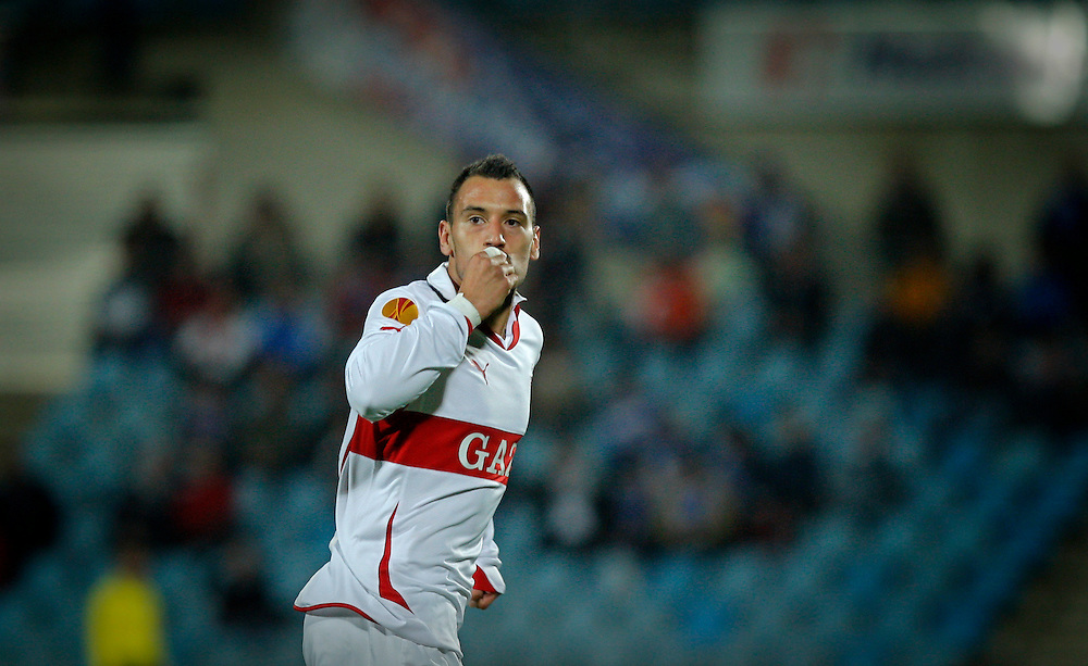 Stuttgart's Timo Gebhart celebrates after scoring against Getafe during their group H Europa League soccer match at the Coliseum Alfonso Perez stadium in Getafe, near Madrid, Thursday, Nov. 4, 2010.