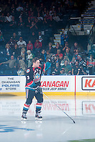 KELOWNA, CANADA - SEPTEMBER 24: Riley Stadel #3 of the Kelowna Rockets enters the ice against the Kamloops Blazers on September 24, 2016 at Prospera Place in Kelowna, British Columbia, Canada.  (Photo by Marissa Baecker/Shoot the Breeze)  *** Local Caption *** Riley Stadel;