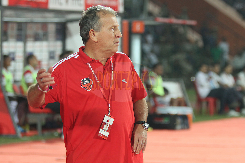 FC Goa Manager Zico during match 8 of the Hero Indian Super League between NorthEast United FC<br /> and FC Goa held at the Indira Gandhi Stadium, Guwahati, India on the 19th October 2014.<br /> <br /> Photo by:  Saikat Das/ ISL/ SPORTZPICS
