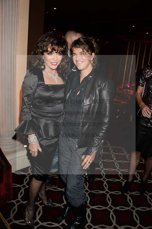 Left to right, JOAN COLLINS and TRACEY EMIN at a party to celebrate the publication of 'Passion for Life' by Joan Collins held at No41 The Westbury Hotel, Mayfair, London on21st October 2013.