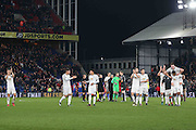 Manchester United players celebrate their win during the Premier League match between Crystal Palace and Manchester United at Selhurst Park, London, England on 14 December 2016. Photo by Phil Duncan.