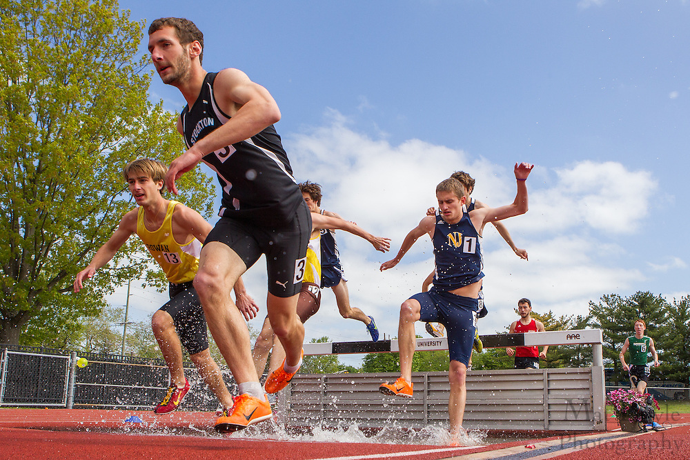 Men's 3000 meter Steeplechase at the NJAC Track and Field Championships at Richard Wacker Stadium on the campus of  Rowan University  in Glassboro, NJ on Sunday May 5, 2013. (photo / Mat Boyle)