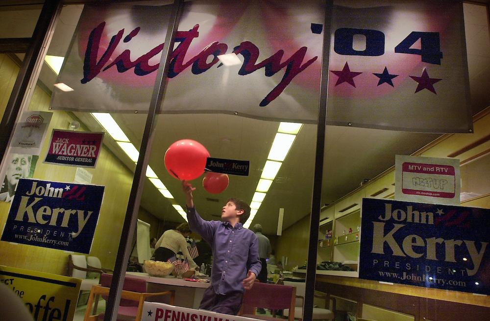Tuesday, April 27, 2004.Curtis Texter, 12 son of York City Councilman Cameron Texter, plays with balloons at Victory 04 headquarters on West Market Street, while local democrats wait for the primary election results to come in.