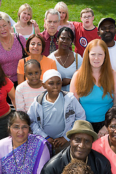 Multiracial group of people; including various family members,