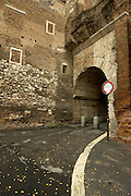 Rome, Italy, November 6, 2004-A path leads through an ancient arch on the Aventine Hill.