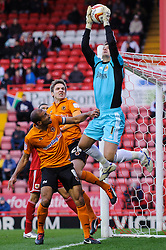 Bristol City Goalkeeper Thomas Heaton (ENG) makes a save during the first half of the match - Photo mandatory by-line: Rogan Thomson/JMP - Tel: Mobile: 07966 386802 01/12/2012 - SPORT - FOOTBALL - Ashton Gate - Bristol. Bristol City v Wolverhampton Wanderers - npower Championship.
