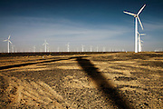Gansu, China - 26 Feb 2010. Datang wind farm, Gansu province, China. China has set a target for renewable energy consumption of 40 percent of the market by the year 2050.Photographer: Markel Rendondo/Greenpeace.