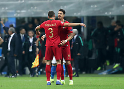 November 17, 2018 - Milan, Italy - Italy v Portugal - UEFA Nations League League A..Ruben Dias of Portugal and Jose Fonte of Portugal celebrate the qualification to the final four at San Siro Stadium in Milan, Italy on November 17, 2018. (Credit Image: © Matteo Ciambelli/NurPhoto via ZUMA Press)
