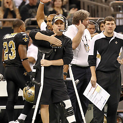 November 28, 2011; New Orleans, LA, USA; New Orleans Saints head coach Sean Payton signals from the sideline during the second quarter of a game against the New York Giants at the Mercedes-Benz Superdome. Mandatory Credit: Derick E. Hingle-US PRESSWIRE
