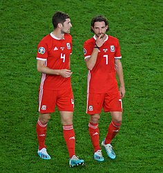 CARDIFF, WALES - Friday, September 6, 2019: Wales' Ben Davies (L) and Joe Allen after the UEFA Euro 2020 Qualifying Group E match between Wales and Azerbaijan at the Cardiff City Stadium. Wales won 2-1. (Pic by Paul Greenwood/Propaganda)