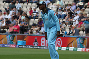 Jofra Archer looking pained in the field during the ICC Cricket World Cup 2019 warm up match between England and Australia at the Ageas Bowl, Southampton, United Kingdom on 25 May 2019.