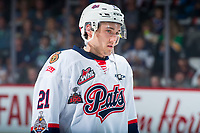 REGINA, SK - MAY 23: Nick Henry #21 of the Regina Pats lines up against the Swift Current Broncos at the Brandt Centre on May 23, 2018 in Regina, Canada. (Photo by Marissa Baecker/CHL Images)