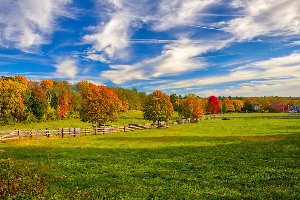 Farmland in Sherborn, Massachusetts in Middlesex County showing brilliant fall foliage colors within a beautiful farm setting on a picture perfect late afternoon. During the 2017 New England fall foliage season I decided to stay mostly local and rediscover local areas and landmarks. Glad about that call and I sure will do more of that in the future. <br /> <br /> Sherborn , MA fall foliage photography images are available as museum quality photography prints, canvas prints, acrylic prints or metal prints. Prints may be framed and matted to the individual liking and room decor needs:<br /> <br /> https://juergen-roth.pixels.com/featured/farmland-in-sherborn-massachusetts-juergen-roth.html<br /> <br /> Good light and happy photo making!<br /> <br /> My best,<br /> <br /> Juergen<br /> Image Licensing: http://www.RothGalleries.com<br /> Fine Art Prints: http://fineartamerica.com/profiles/juergen-roth.html<br /> Photo Blog: http://whereintheworldisjuergen.blogspot.com<br /> Twitter: https://twitter.com/naturefineart<br /> Facebook: https://www.facebook.com/naturefineart<br /> Instagram: https://www.instagram.com/rothgalleries