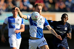 Chris Lines of Bristol Rovers controls the ball under pressure from Theo Robinson of Southend United - Mandatory by-line: Richard Calver/JMP - 05/05/2018 - FOOTBALL - Roots Hall - Southend-on-Sea, England - Southend United v Bristol Rovers - Sky Bet League One