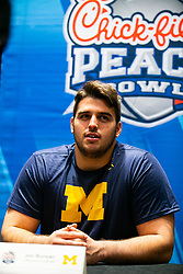 Michigan Wolverines offensive lineman Jon Runyan speaks with the media at the Hyatt Regency on Monday, December 24, 2018 in Atlanta. Michigan will face Florida in the 2018 Peach Bowl on December 29, 2018. (Jason Parkhurst via Abell Images for the Chick-fil-A Peach Bowl)