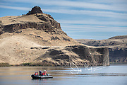 Expedition travelers explore the Palouse River onboard an inflatable boat known as a D.I.B.
