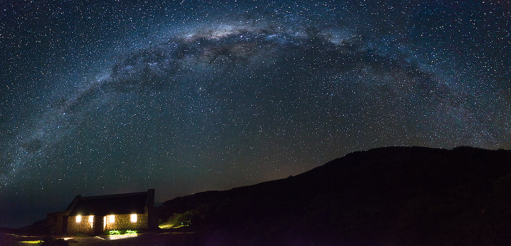 Milky Way over cottage house, Vaalkrans camp on the Whale Trail, De Hoop Nature Reserve, South Africa.