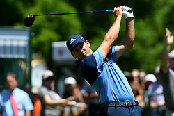 May 2, 2019 - Charlotte, NC, U.S. - CHARLOTTE, NC - MAY 02: Sergio Garcia plays his shot from the first tee in round one of the Wells Fargo Championship on March 02, 2019 at Quail Hollow Club in Charlotte,NC. (Photo by Dannie Walls/Icon Sportswire) (Credit Image: © Dannie Walls/Icon SMI via ZUMA Press)