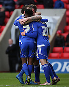 Ipswich striker Freddie Sears celebrating scoring the second goal during the Sky Bet Championship match between Charlton Athletic and Ipswich Town at The Valley, London, England on 28 November 2015. Photo by Matthew Redman.