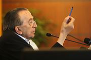24 AUG 2005 RIMINI : MEETING'05, ANNUAL NATIONAL MEETING OF THE CATHOLIC ORGANIZATION COMUNIONE E LIBERAZIONE; PRESS CONFERENCE OF GIULIO ANDREOTTI, SENATOR OF ITALIAN REPUBLIC. © CARLO CERCHIOLI