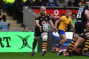 Wasps scrum half Dan Robson (9) kicks during the Gallagher Premiership Rugby match between Wasps and Bath Rugby at the Ricoh Arena, Coventry, England on 2 November 2019.