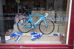 Many shops in Ashbourne featured a bicycle of some sorts to celebrate the Aviva Women's Tour 2016 - Stage 3. A 109.6 km road race from Ashbourne to Chesterfield, UK on June 17th 2016.