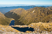 Lakes from the top of Mt Burns, Fiordland