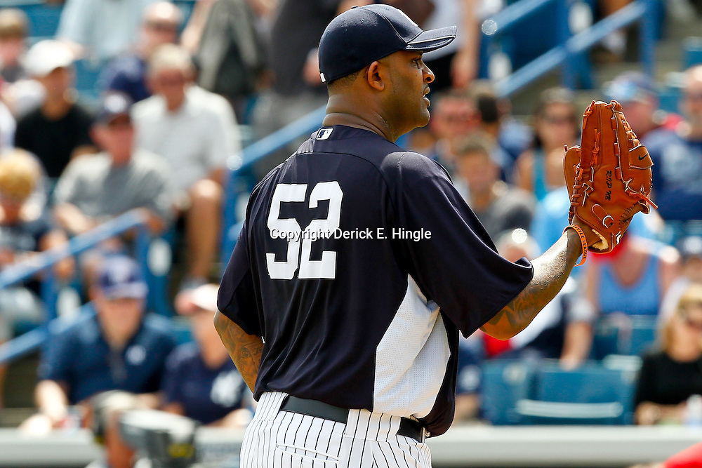 March 11, 2012; Tampa Bay, FL, USA; New York Yankees starting pitcher CC Sabathia (52) on the mound during the top of the first inning of a spring training game against the Philadelphia Phillies at George M. Steinbrenner Field. Mandatory Credit: Derick E. Hingle-US PRESSWIRE