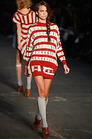 Regina Feoktistova walks the runway wearing Alexander Wang Spring 2010 collection during Mercedes-Benz Fashion Week in New York, NY on September 11, 2009