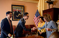 March 27, 2019 - Speaker of the US House of Representatives Nancy Pelosi met former HK No.2 deputy, retired Chief Secretary of HKSAR, Anson Chan ( centre-right in yellow costume ) and her delegation, pro-democracy lawmaker Dennis Kwok ( centre ) and Charles Peter Mok ( left ) in Washington. ( Credit as : Handout by Civic Party HK via ZUMA ) Mar-28,2019 Hong Kong.ZUMALiau Chung-ren (Credit Image: © Liau Chung-renZUMA Wire)