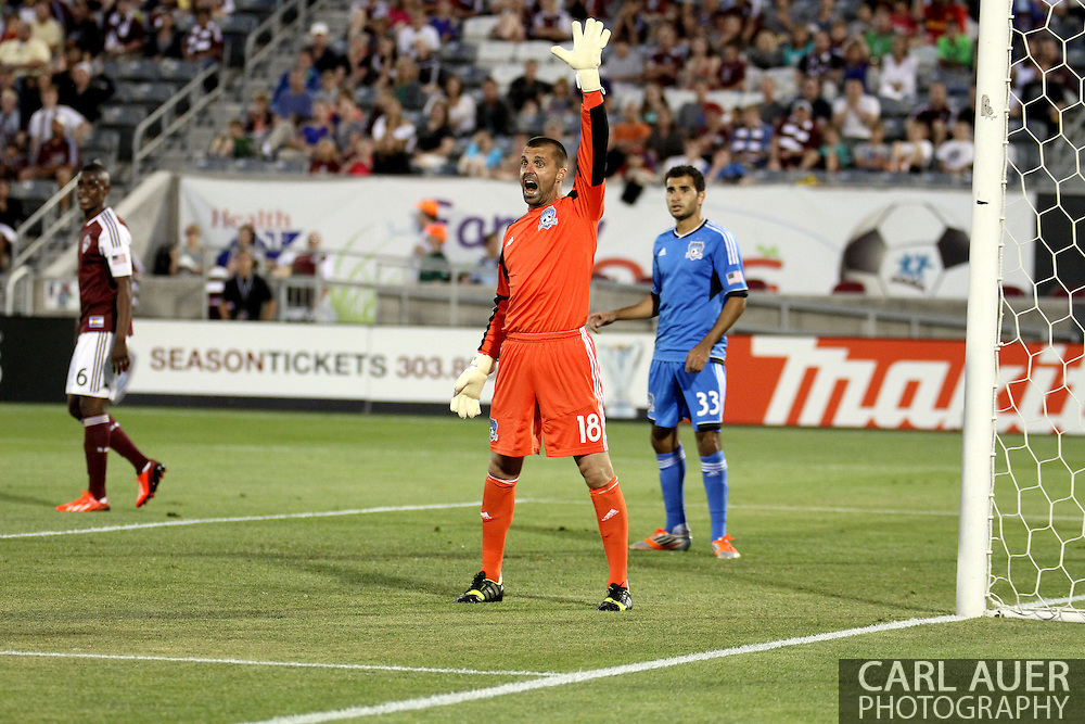 June 15th, 2013 - San Jose Earthquake goalkeeper Jon Busch (18) yells at the sideline official for a call in the second half of action during the MLS match between San Jose Earthquake and the Colorado Rapids at Dick's Sporting Goods Park in Commerce City, CO