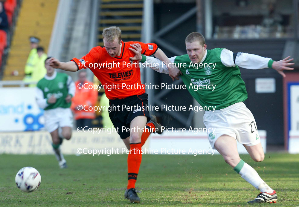 Dundee United v Hibs  07.04.02<br />Stuart Duff fends off Gary O'Connor<br /><br />Pic by Graeme Hart<br />Copyright Perthshire Picture Agency<br />Tel: 01738 623350 / 07990 594431