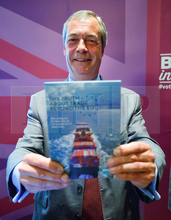 "© Licensed to London News Pictures. 17/06/2015. London, UK. UKIP leader NIGEL FARAGE launching ""The Truth About Trade Beyond The EU"" pamphlet in central London, on Wednesday, June 17, 2015. Photo credit: Tolga Akmen/LNP"