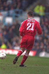 COVENTRY, ENGLAND - Saturday, April 6, 1996: Liverpool's Dominic Matteo in action against Coventry City during the Premiership match at Highfield Road. Coventry won 1-0. (Pic by David Rawcliffe/Propaganda)