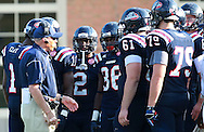 Samford Coach Pat Sullivan talks to his team during a timeout in the game Appalachian State at Seibert Stadium in Homewood, Ala., Saturday, Oct 13, 2012. (Marvin Gentry)