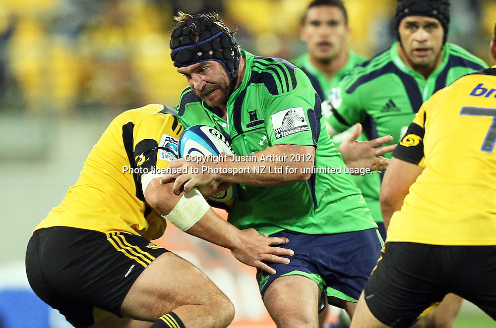 Highlanders' Andrew Hore on the attack during the 2012 Super Rugby season, Hurricanes v Highlanders at Westpac Stadium, Wellington, New Zealand on Saturday 17 March 2012. Photo: Justin Arthur / Photosport.co.nz