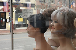 Wig mannequins in a shop in Alexandria near Washington DC in the United States. From a series of travel photos in the United States. Photo date: Sunday, April 1, 2018. Photo credit should read: Richard Gray/EMPICS