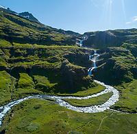 Klifbrekkurfossar waterfalls in Mjóifjörður, East fiords of Iceland. Drone aerial shot.