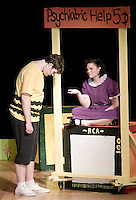 You're a Good Man Charlie Brown (Chris O'Hara) but you will still have to pay Lacy Van Pelt (Ashley Snow) for her advice.  Laconia High School Drama will host performances from Thursday, May 28th through Saturday, May 30th in the LHS auditorium starting at 7pm with a 2pm matinee on Saturday.  (Karen Bobotas/for the Laconia Daily Sun)