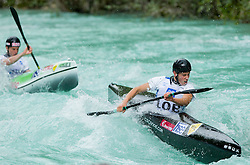 Nejc Znidarcic, Simon Oven of Slovenia compete in 3 x K1 men at sprint teams race at European wildwater Canoeing Championships Soca 2013 on May 12, 2013 in Trnovo ob Soci, Soca river, Slovenia. (Photo By Vid Ponikvar / Sportida)