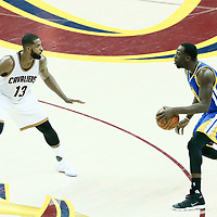 09 June 2017: Cleveland Cavaliers center Tristan Thompson (13) defends on Golden State Warriors forward Draymond Green (23) during the Cleveland Cavaliers 137-11 victory over the Golden State Warriors, in game 4 of the 2017 NBA Finals, at  the Quicken Loans Arena, Cleveland, Ohio, USA.