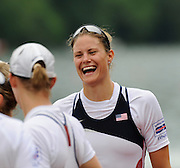Lucerne, SWITZERLAND.   Women's Eights Final, USA W8+ celebrate on the awards dock before the medal presentation, at the  2008 FISA World Cup Regatta, Round 2.  Lake Rotsee, on Sunday, 01/06/2008.  [Mandatory Credit:  Peter Spurrier/Intersport Images].Lucerne International Regatta. Rowing Course, Lake Rottsee, Lucerne, SWITZERLAND.