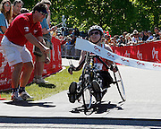Roger Crowley/Times Argus.Andrea Kerr, 32, of Jericho, won her first marathon in the wheeled division at the 20th Annual KeyBank Vermont City Marathon was held Sunday in Burlington.