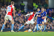 Slavia Prague forward Peter Olayinka (9) guards the ball from Chelsea midfielder Mateo Kovacic (17) during the Europa League  quarter-final, leg 2 of 2 match between Chelsea and Slavia Prague at Stamford Bridge, London, England on 18 April 2019.
