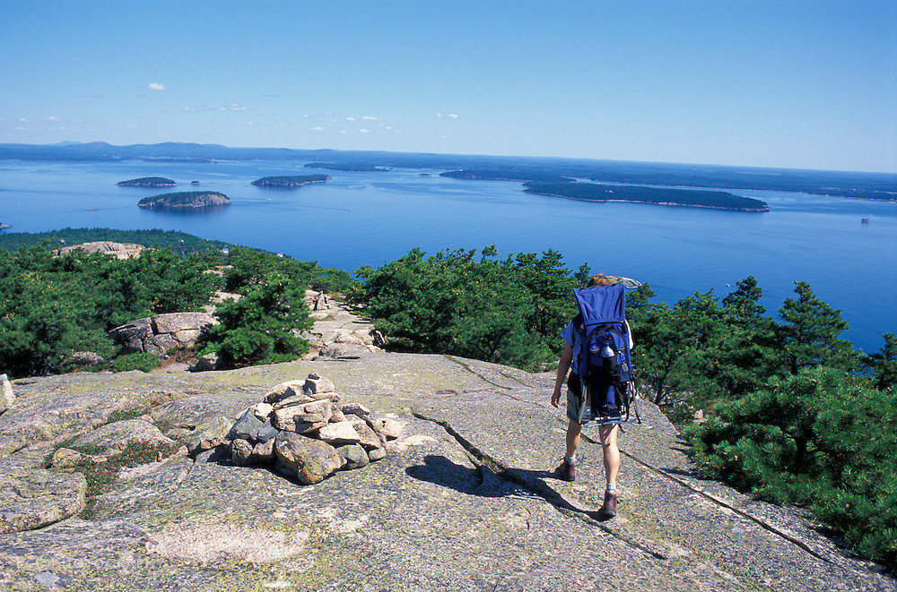 Acadia National Park, ME.Hiking with a toddler in the backpack on Champlain Mountain.  Frenchman Bay is in the distance.