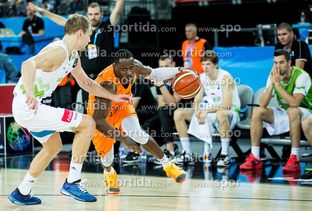 Jaka Blazic of Slovenia vs Charlon Kloof of Netherlands during basketball match between Slovenia vs Netherlands at Day 4 in Group C of FIBA Europe Eurobasket 2015, on September 8, 2015, in Arena Zagreb, Croatia. Photo by Vid Ponikvar / Sportida