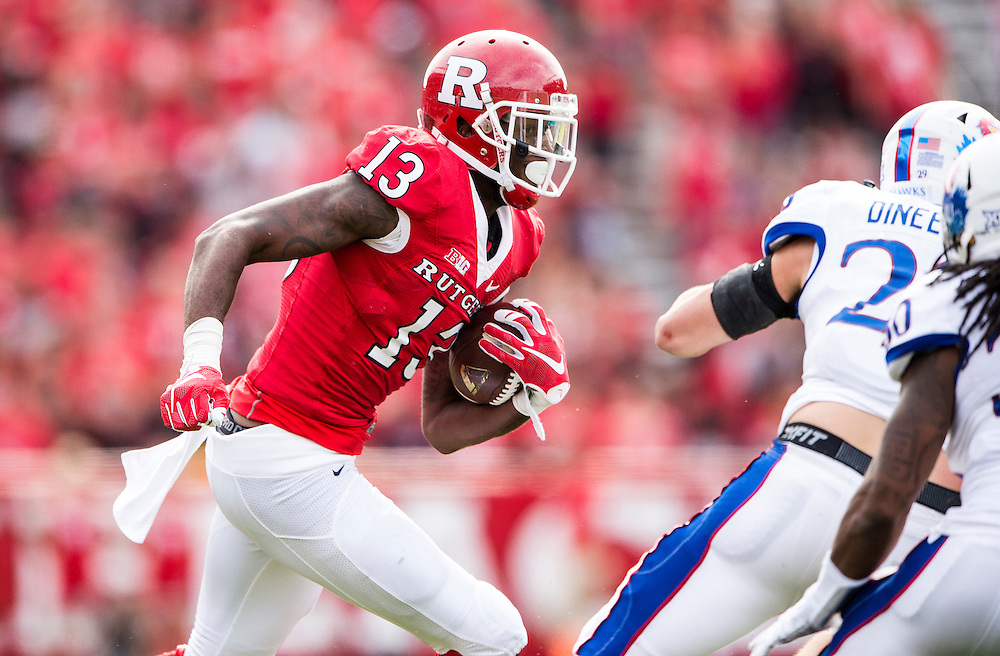 The Rutgers Scarlet Knights take on the Kansas Jayhawks during a regular season game at High Point Solutions Stadium on Saturday, September 26, 2015.<br /> Ben Solomon/Rutgers Athletics