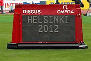 28.6.2012, Olympiastadion - Olympic Stadium, Helsinki, Finland..European Athletics Championship - Yleisurheilun EM-kisat..Tulostaulu - Scoreboard.