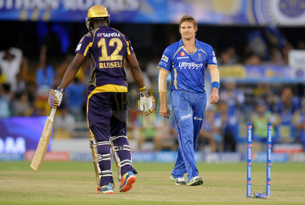 Shane Watson captain of the Rajatshan Royals celebrates the wicket of Andre Russell of the Kolkata Knight Riders during match 25 of the Pepsi Indian Premier League Season 2014 between the Rajasthan Royals and the Kolkata Knight Riders held at the Sardar Patel Stadium, Ahmedabad, India on the 5th May  2014<br /> <br /> Photo by Pal Pillai / IPL / SPORTZPICS      <br /> <br /> <br /> <br /> Image use subject to terms and conditions which can be found here:  http://sportzpics.photoshelter.com/gallery/Pepsi-IPL-Image-terms-and-conditions/G00004VW1IVJ.gB0/C0000TScjhBM6ikg